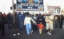 Mikey's mother leads marchers