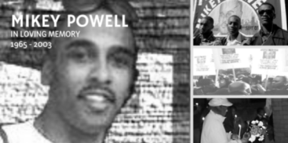 Mikey Powell remembrance banner